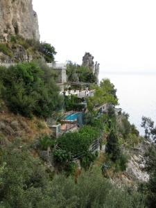 Bird's-eye view of our rental on the Amalfi coast