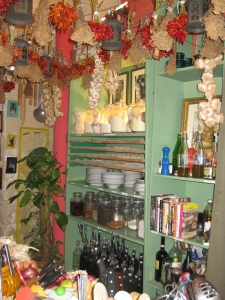 Kitchen shelves and pasta drying racks