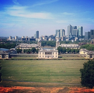 Royal Palace at Greenwich with Canary Wharf in the background