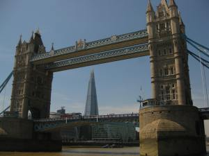 Tower Bridge and the Shard as seen from the Thames